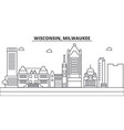 wisconsin milwaukee city architecture line vector image vector image