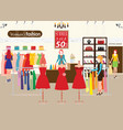women shopping in a clothing store with dummies vector image