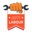 wrench in hand labour day isolated icon first of vector image vector image