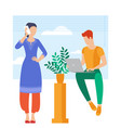 young man and woman is working outsourced vector image vector image