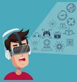 young man virtual reality wearing goggle digital vector image vector image