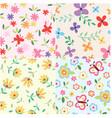 floral set pattern vector image