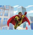 superhero flying through city vector image