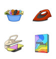 a bowl with laundry iron ironing press washing vector image vector image