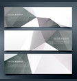 abstract low poly header banners set background vector image vector image