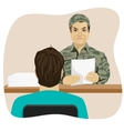 Army conscript during interview vector image