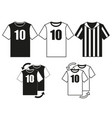 black and white soccer uniform t-shirt set vector image