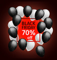 black white balloons black friday 70 percent off vector image