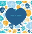 blue and yellow flowersilhouettes heart silhouette vector image vector image