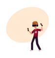 boy wearing virtual reality headset simulator vector image