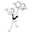 cartoon of happy businessman with jigsaw puzzle vector image