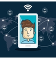 cartoon white smartphone connection internet vector image