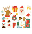 Christmas icons symbols for greeting card