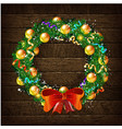 christmas wreath template 2019 vector image