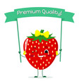 cute strawberry cartoon character with a yellow vector image vector image
