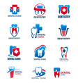dental clinic tooth and dentist icons vector image vector image