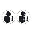 Detective pipe smoker silhouette Sherlock Holmes vector image