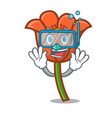 diving poppy flower character cartoon vector image