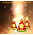 Diwali background with colorful firecracker vector image