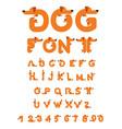 dog font dachshund alphabet lettering home animal vector image