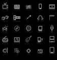 Entertainment line icons with reflect on black vector image vector image