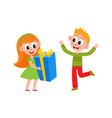 flat girl and boy with big present box vector image vector image