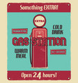 gas station service vintage poster with retro gas vector image vector image