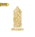 Gold glitter icon of condom isolated on vector image