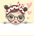greeting card cute cartoon girl vector image