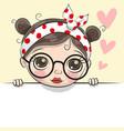 greeting card cute cartoon girl vector image vector image