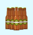 group of attractive beer bottles on a blue vector image vector image