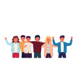 group of friends embrace and stand together vector image