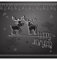 Hand drawn Christmas deers and handwritten words vector image