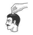 hand puts coin in head sketch vector image vector image
