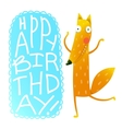 Happy birthday card design with cute cartoon fox vector image