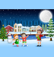 happy family celebration a christmas day outdoors vector image vector image