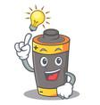 have an idea battery mascot cartoon style vector image vector image