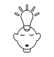 head thinking bulb idea innovation outline vector image vector image