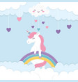 hearts rainbow unicorn fantasy magic cartoon vector image