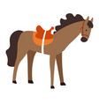 horse with saddle domestic animal stallion or vector image