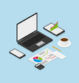 isometric workspace concept vector image