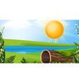 landscape background design river at day time vector image vector image