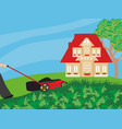 lawn mower with grass vector image