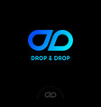 ldouble d monogram drops blue vector image vector image