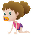 little girl sucking on pacifier vector image