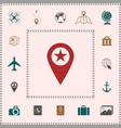 map pointer with star elements for your design vector image