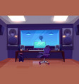 modern audio recording studio interior vector image vector image