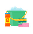 ponge green bucket cleaning products in bottles vector image