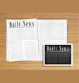 realistic newspaper with a tablet vector image vector image