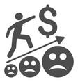 sad business growth flat icon vector image